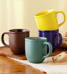 Diamond-Textured Mug Set
