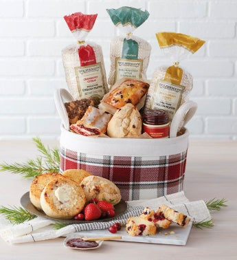 Red Plaid Bakery Basket
